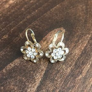 Betsy Johnson Flower and Crystal Drop Earrings